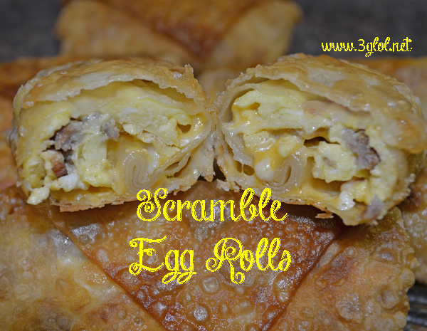 Scrambled eggs, sausage, bacon and cheese all rolled up in an egg roll ...