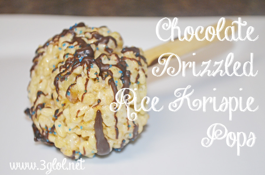 Chocolate Drizzled Rice Krispie Pops by 3GLOL.net