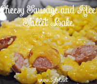 Cheesy Sausage and Rice Skillet Bake by 3GLOL.net